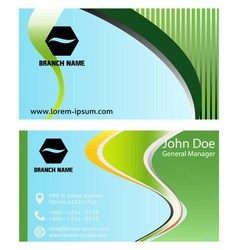 Blue green business cards template vector image