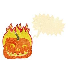Cartoon burning pumpkin with speech bubble vector