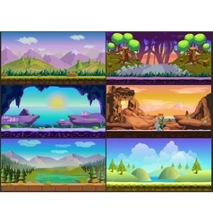 Cartoon game design nature landscape set vector image