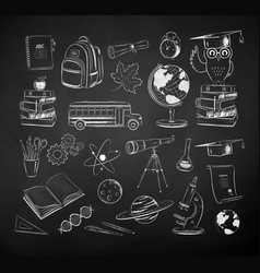 chalk drawn science and school items set vector image