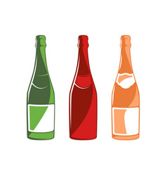 champagne bottles collection isolated on white vector image