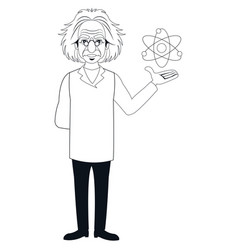 character scientist physical and atom outline vector image