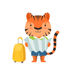 cheerful tourist tiger cute animal cartoon vector image