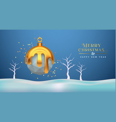 christmas new year 3d low poly gold melt ornament vector image