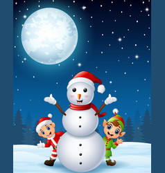 christmas santa claus kid with cartoon elf and sno vector image