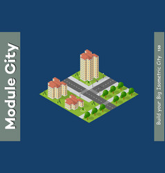 City isometric set vector