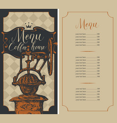 coffee house menu with price list and coffee mill vector image