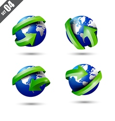 Collection of defference 3D globe and world map vector image