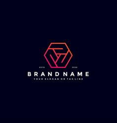 Colorful hexagon letter p logo design vector