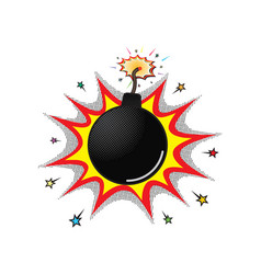 Comic burning bomb boom with wick vector