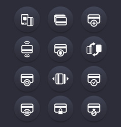 credit cards icons for banking app secure payment vector image