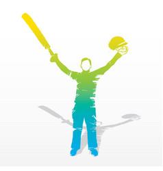 Cricket player celebrate hit century vector