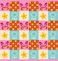 Cute butterflies flowers clouds rain drops pattern vector