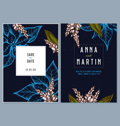 dark wedding invitation card with colored ginger vector image