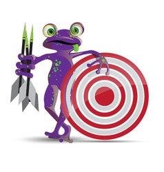 Darts playing frog vector
