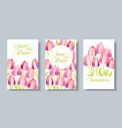 decorative textured tulip flowers card set vector image