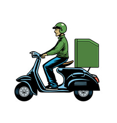 delivery man courier riding old scooter vector image