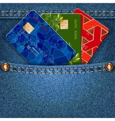 Denim pocket with colored credit cards vector image