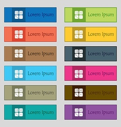 Dices icon sign Set of twelve rectangular colorful vector