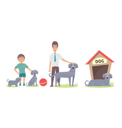dog life set vector image