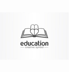 Education open book with heart shape creative vector