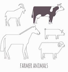 Farmer flat animals vector