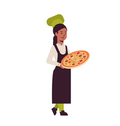female professional chef cook holding tray with vector image