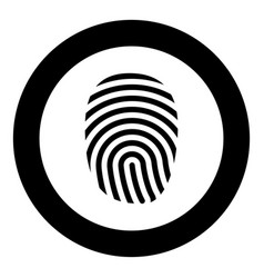 fingerprint icon black color in circle round vector image