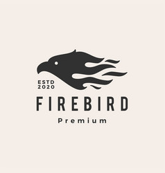 fire bird hipster vintage logo icon vector image