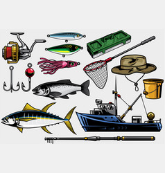 Fishing equipment in set vector