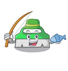 Fishing scrub brush mascot cartoon vector