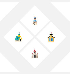 Flat icon church set of catholic church vector
