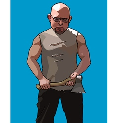 formidable man with glasses and with an ax vector image