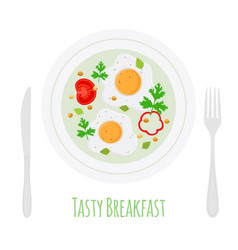 fried eggs with vegetables on plate vector image