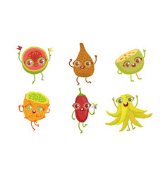 Funny tropical fruit characters set guava snake vector