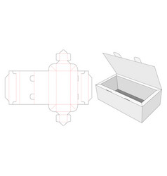 Gift box with lock top die cut template vector