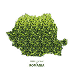 Green leaf map romania a vector