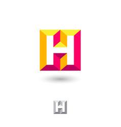 h brick monogram volume illusion monogram vector image