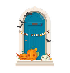 Halloween door decorations blue front door with vector
