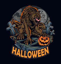 Halloween werewolf on night holding vector