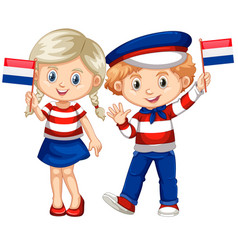 happy boy and girl holding flag of netherland vector image