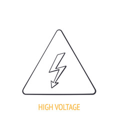 High voltage symbol with electric lightning vector