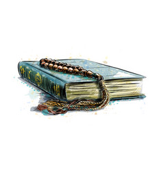 holy book koran with rosary hand drawn sketch vector image