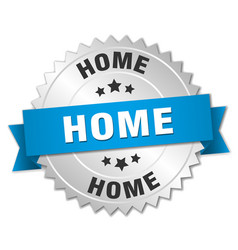 Home 3d silver badge with blue ribbon vector