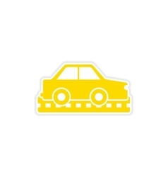 Icon sticker realistic design on paper cars vector