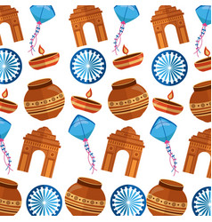 Indian gateway and independence day pattern vector