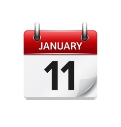 January 11 flat daily calendar icon Date vector image