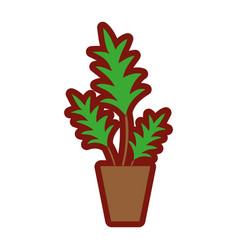 line color nature plant with leaves inside vector image
