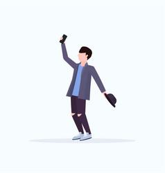 Man taking selfie photo on smartphone camera vector