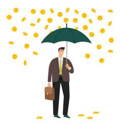 man under money rain vector image